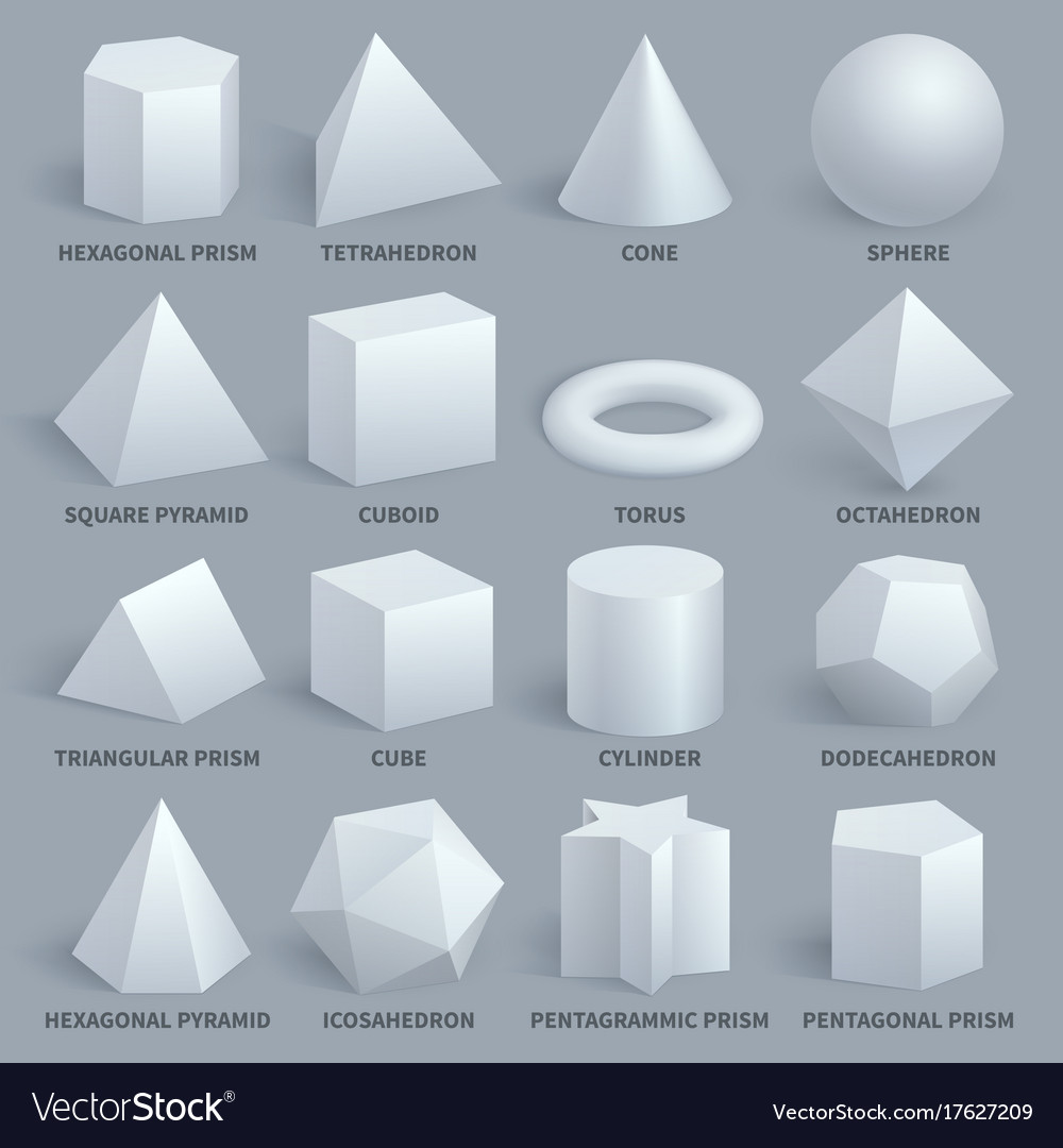 Realistic white basic 3d shapes set