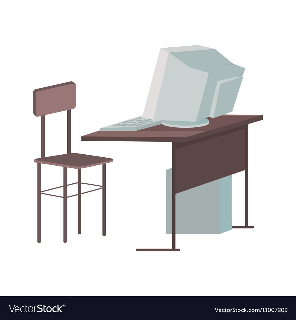 School Desk with Desktop Computer