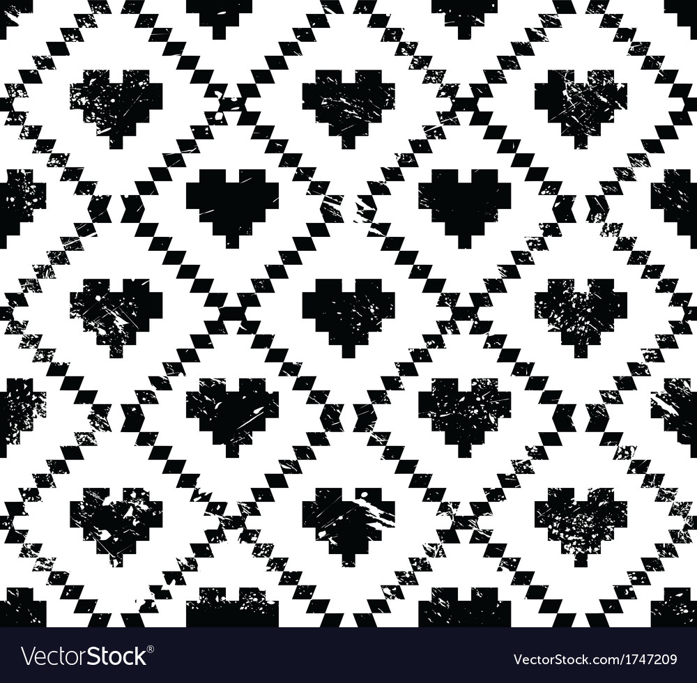 Seamless aztec tribal pattern with hearts - grunge