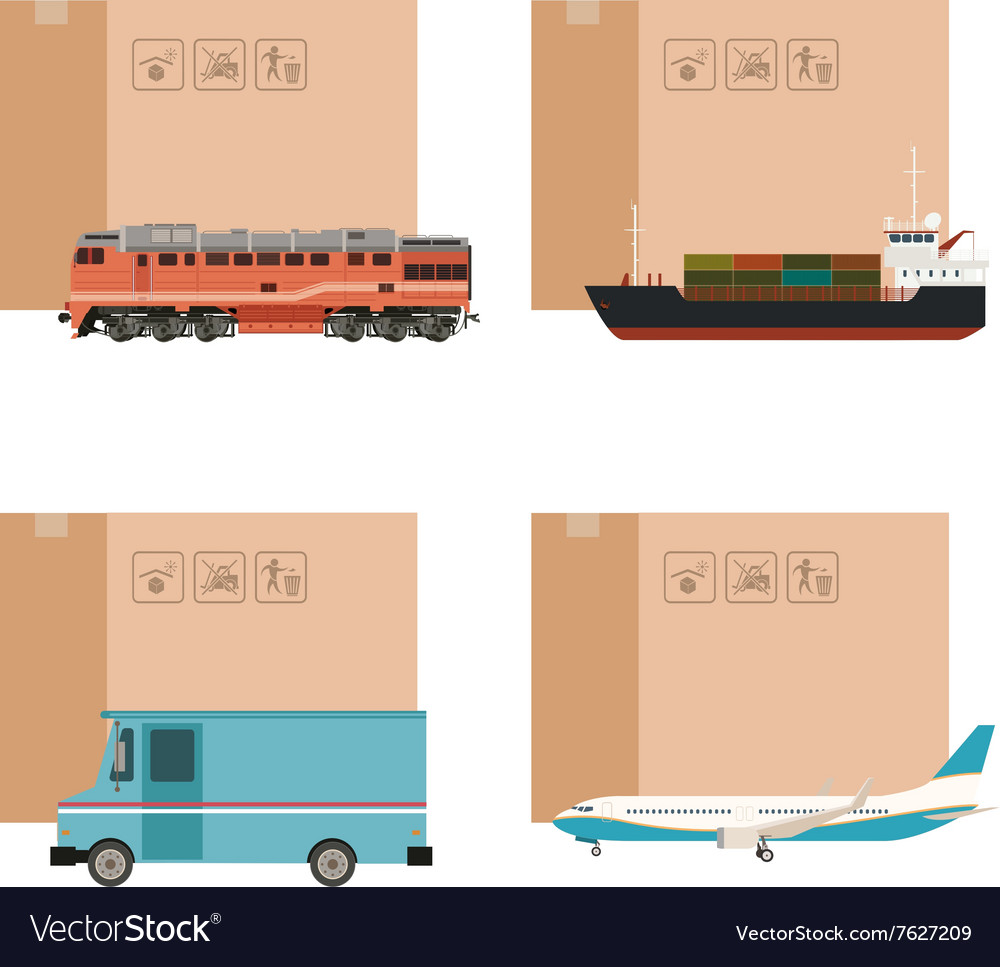 Set cargo transportation with boxes