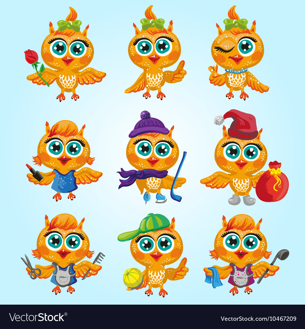 Set of cute owls Cartoon characters of