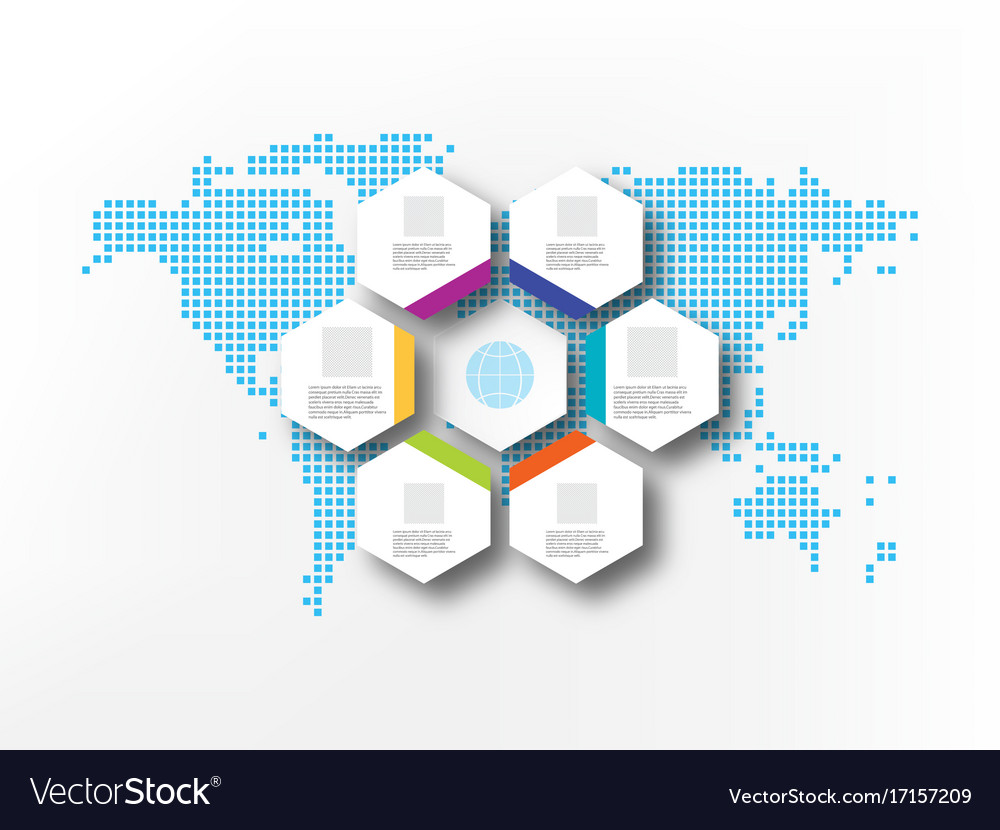Seven white hexagons on the background of abstract