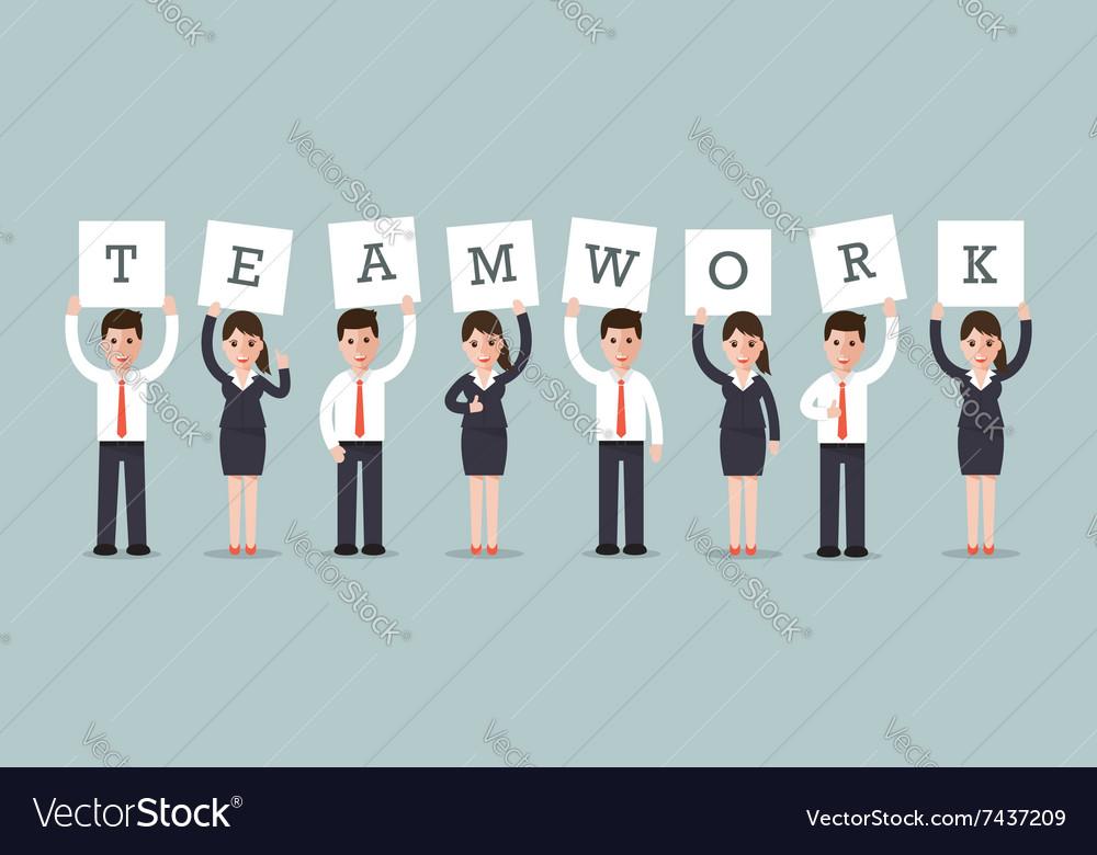 Teamwork businessmen and businesswomen