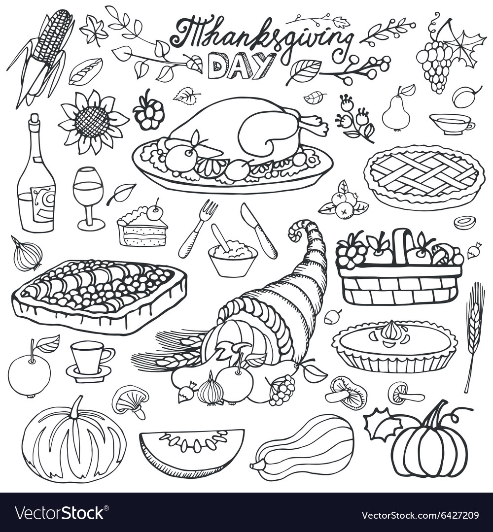 Thanksgiving dayDoodle food iconsLinearset