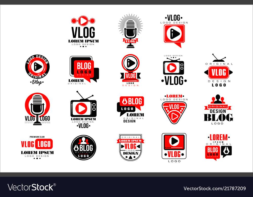 Vlog and blog original logo design set video