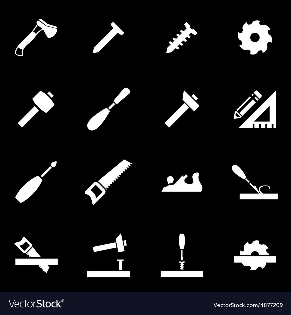 White carpentry icon set