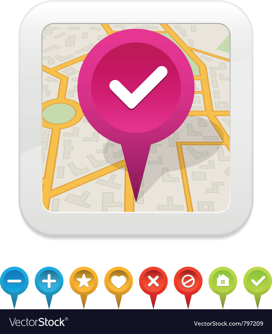 White gps navigator icon with labels