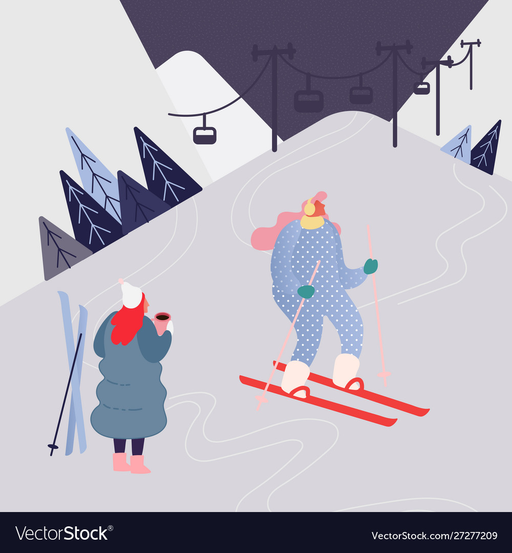 Woman skiing in mountains people character