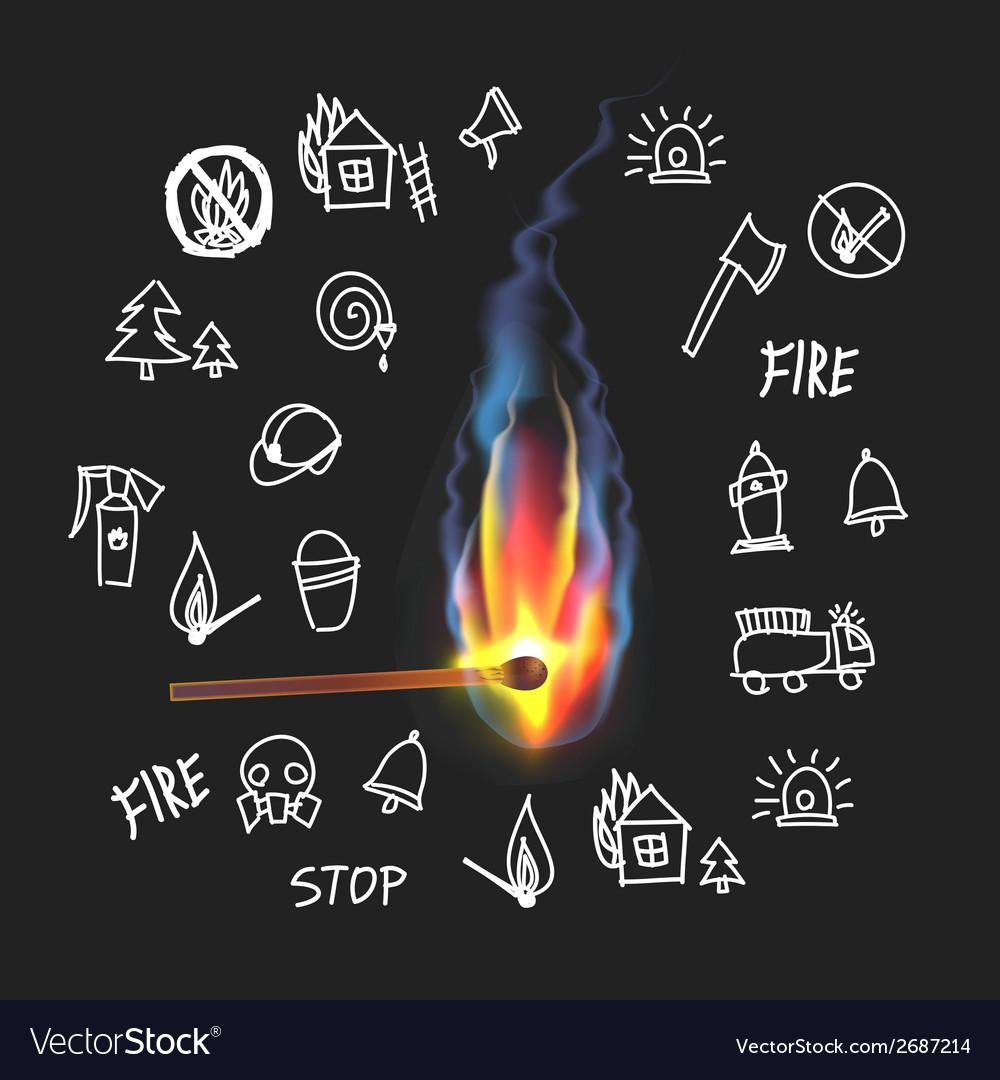 Burning match on a black background Fire Set vector image