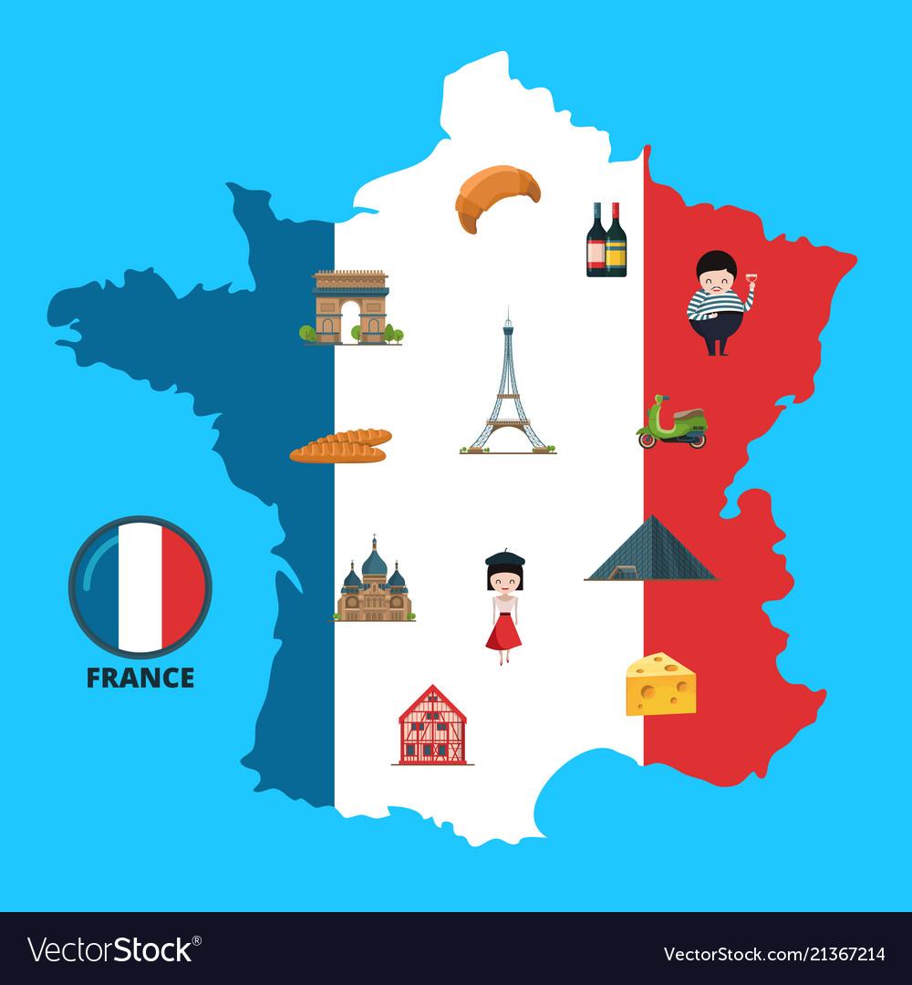 Cartoon france sights on france map Royalty Free Vector