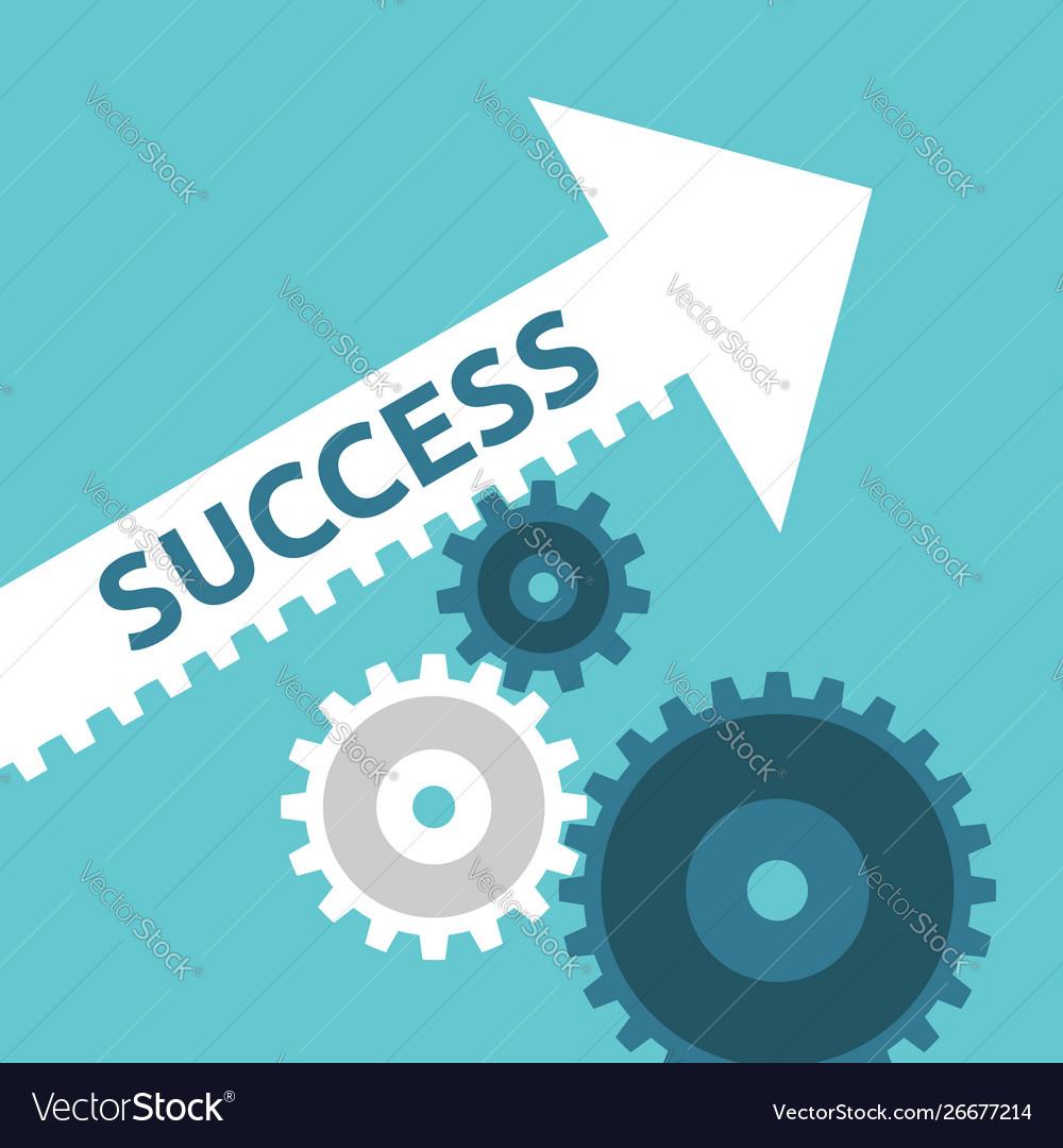 Cogs moving success arrow