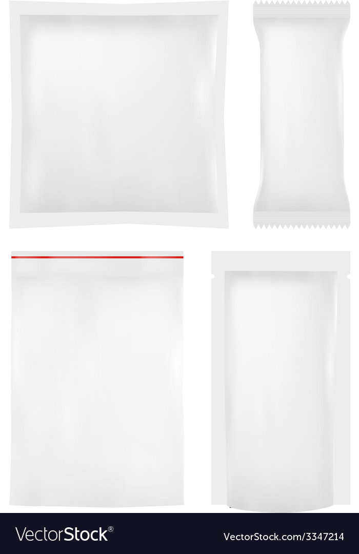 Collection of various plastic bags on white vector image