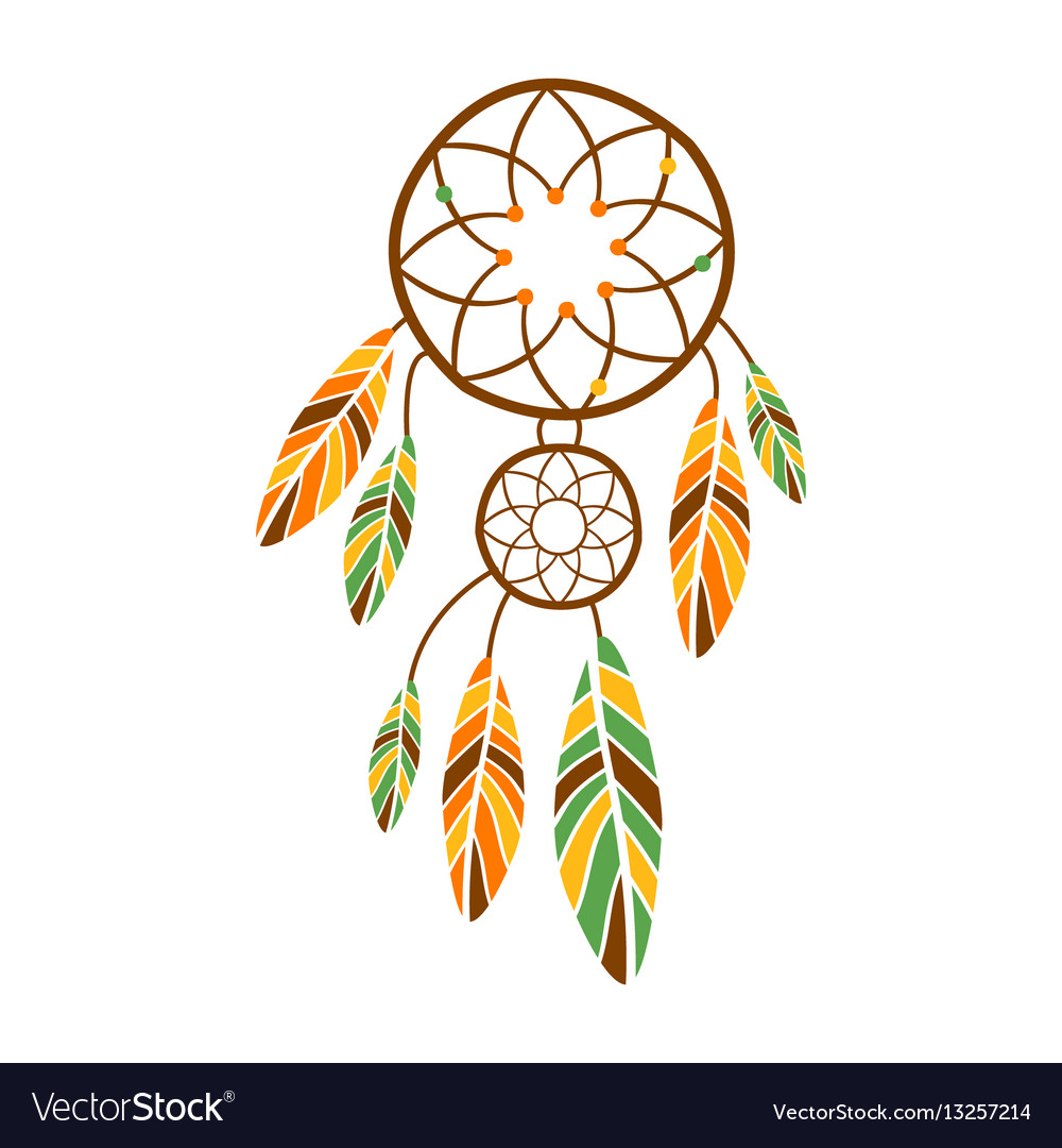 Double dream catcher with feathers native indian