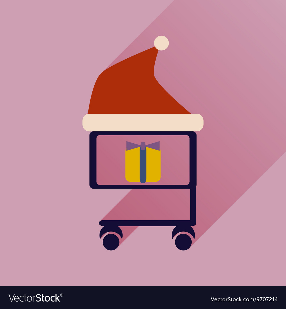 Flat icon with long shadow cart with Christmas