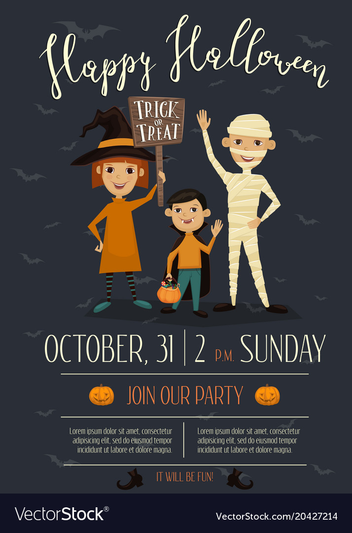 halloween party poster design with kids royalty free vector