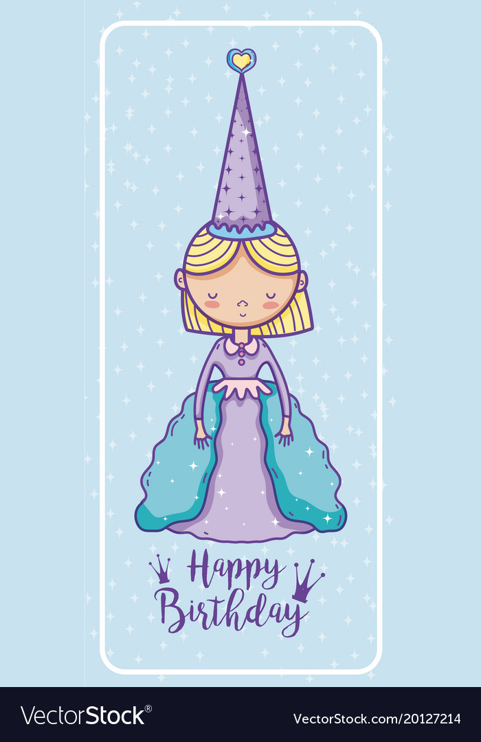 Happy Birthday Card For Girls Royalty Free Vector Image