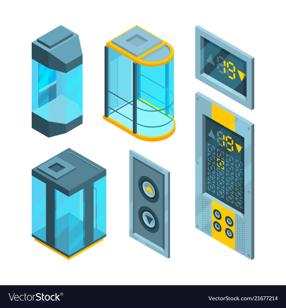 Isometric pictures set of glass elevators with