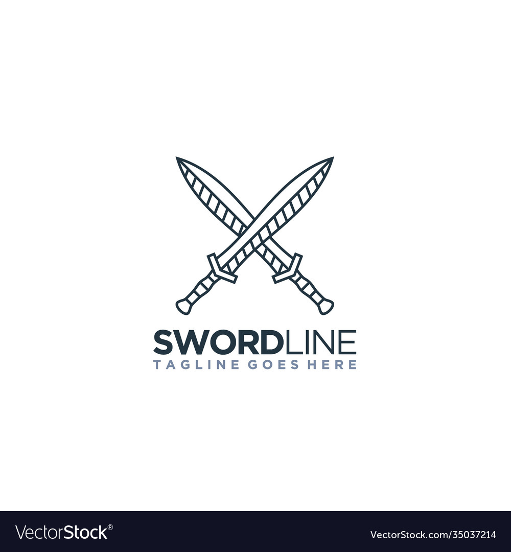 Line art sword cleaver crossed logo design