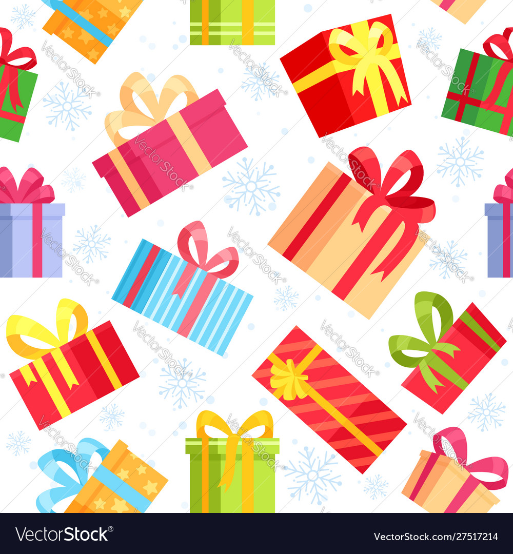 Seamless pattern christmas gift boxes