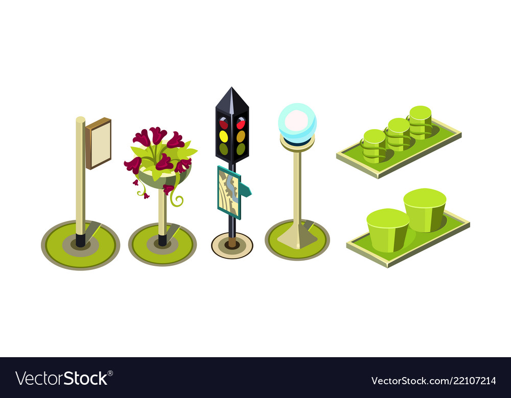 Set of isometric elements for city