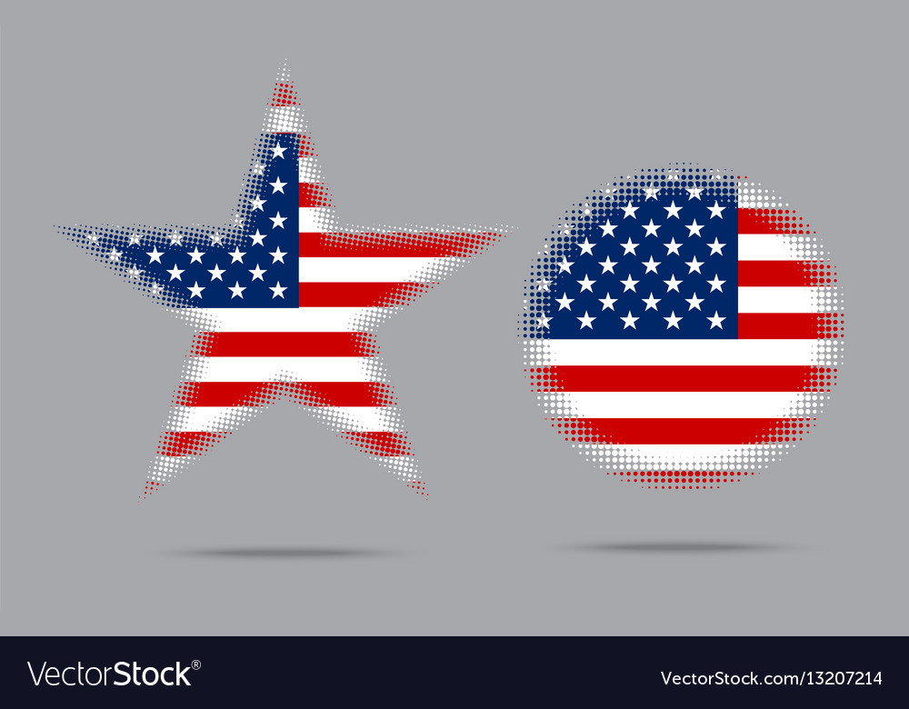 Usa flag star halftone effect style isolated