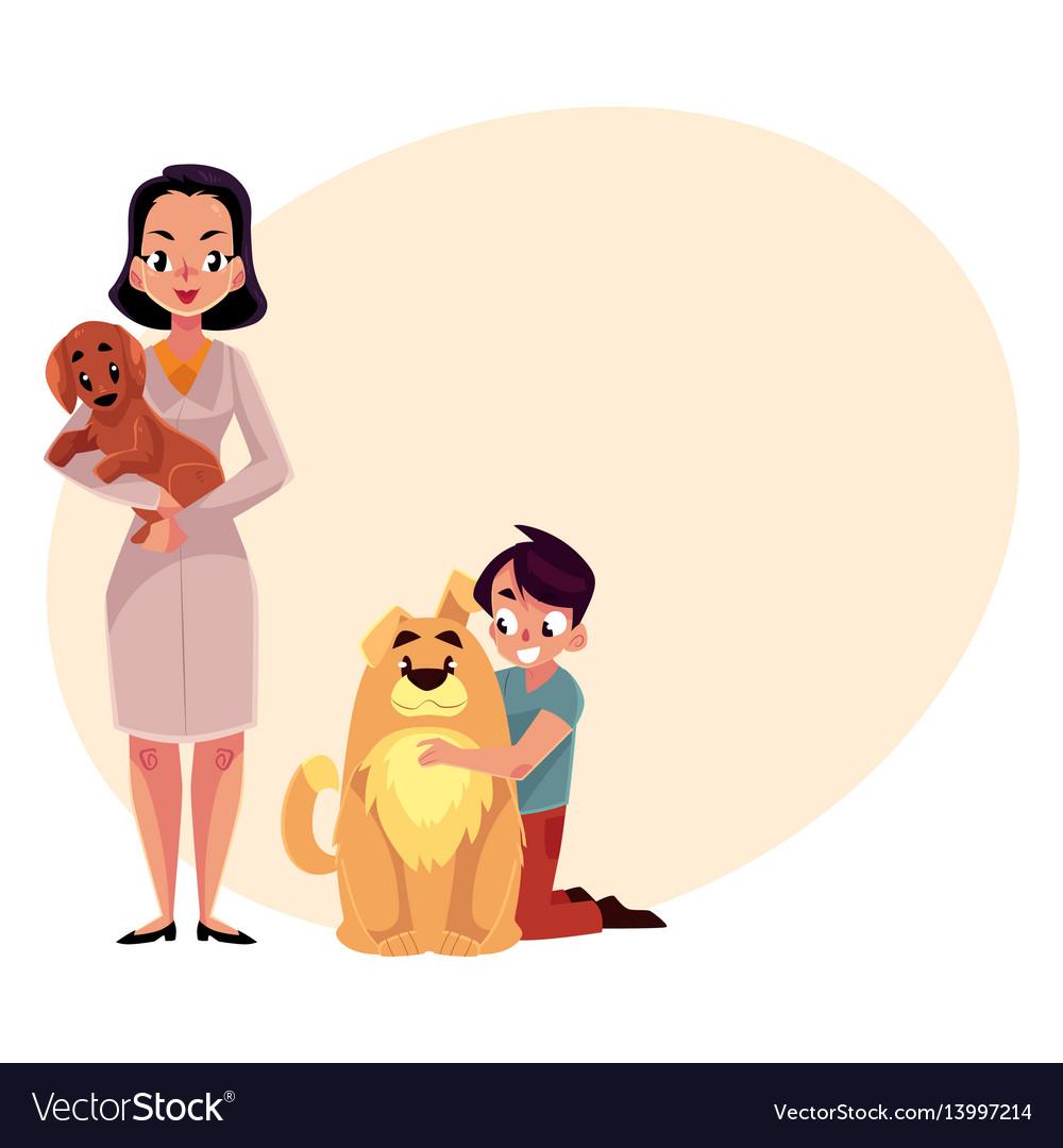 Woman female veterinarian doctor vet and little