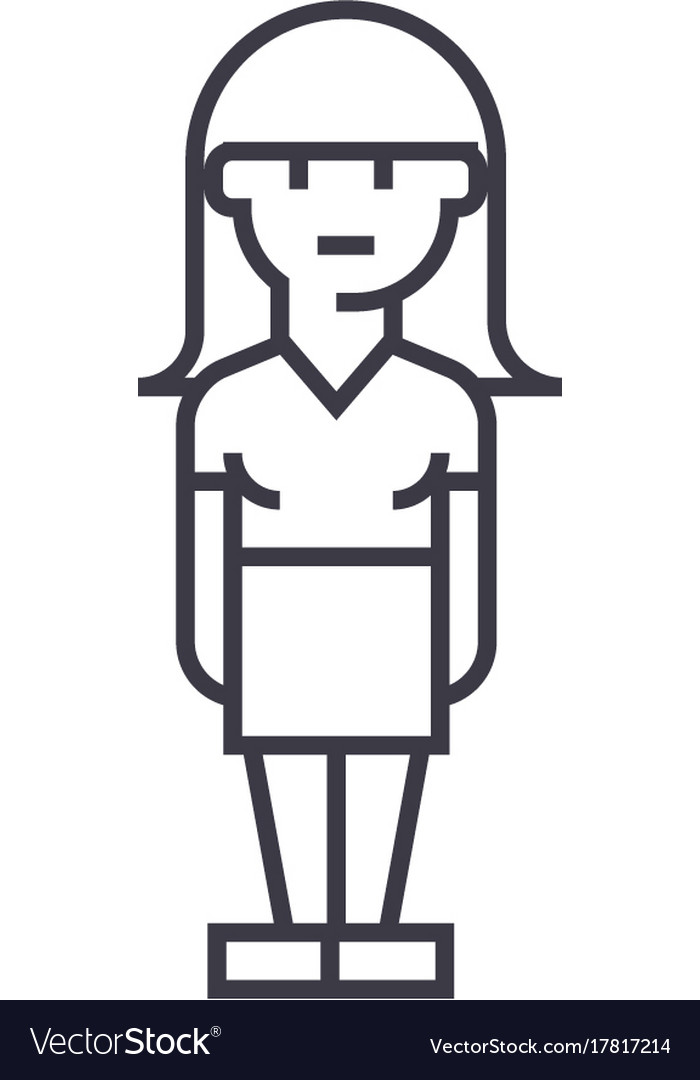 Young woman avatar line icon sign vector image