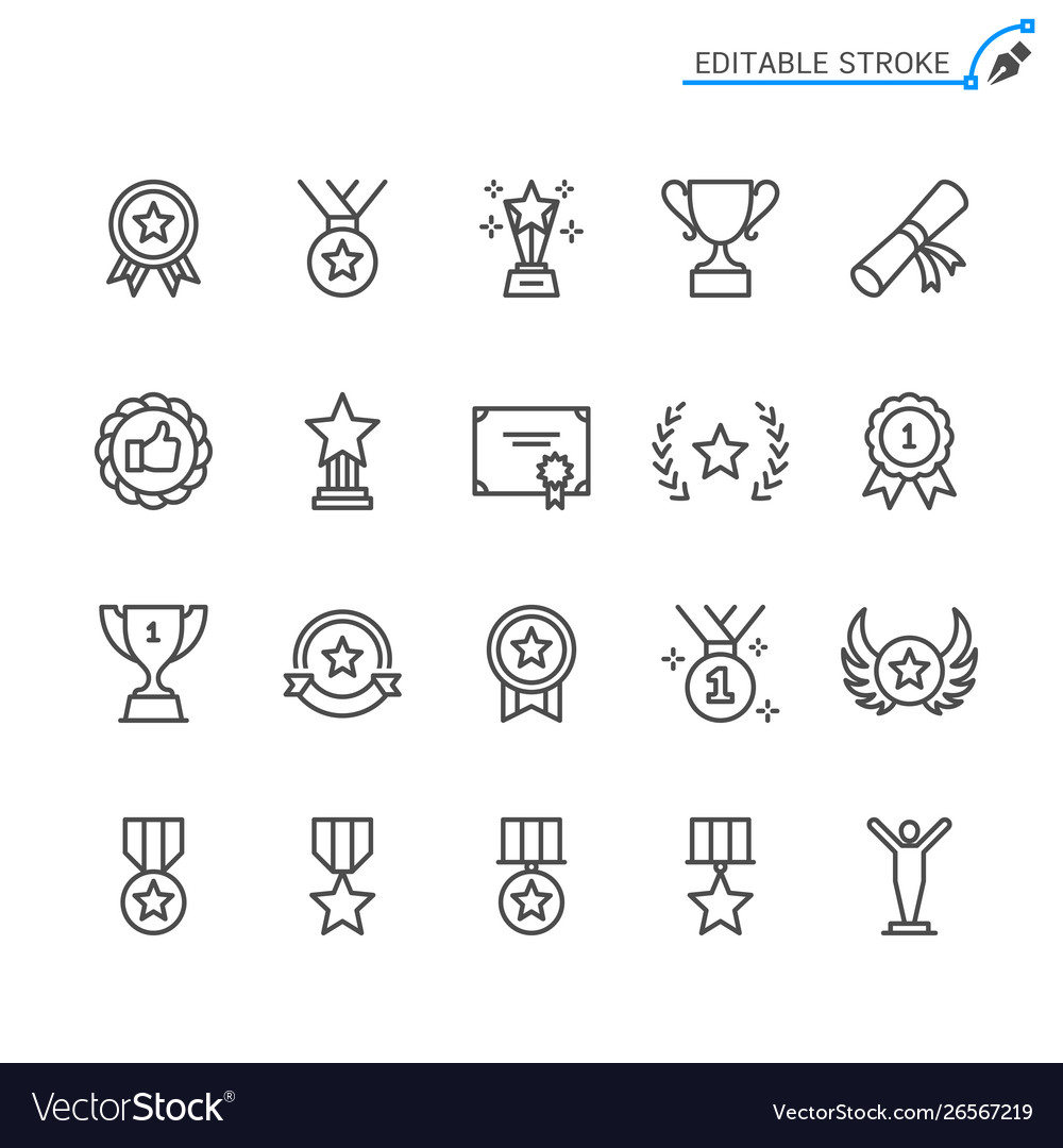 Awards line icons editable stroke pixel perfect