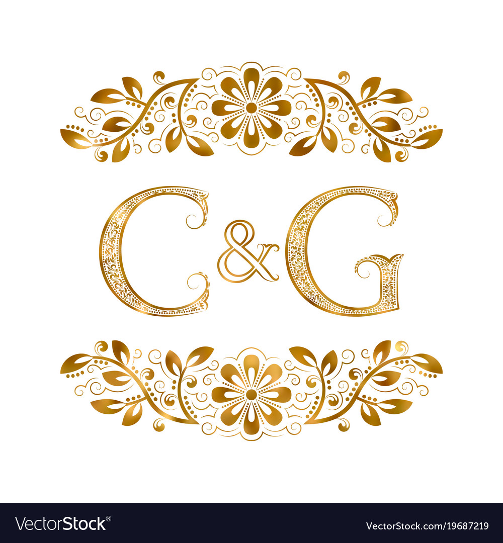C And G Vintage Initials Logo Symbol Letters C Vector Image
