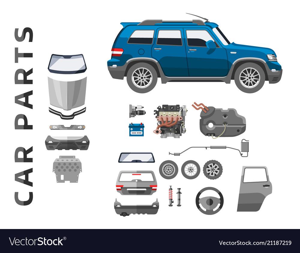 Car service parts flat auto mechanic repair of