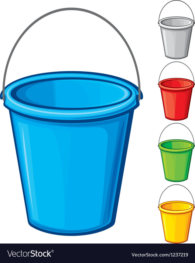 Colored bucket with handle vector image