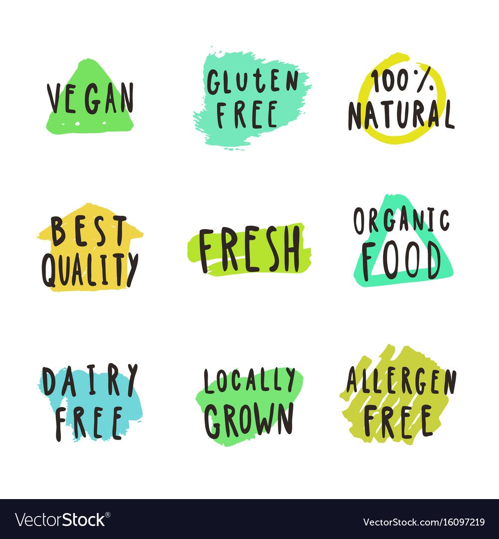 Fresh vegan natural food and drink badges