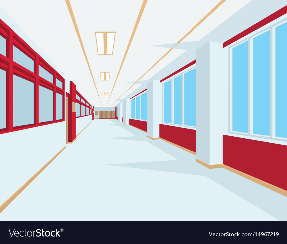 Interior of school hall in flat style