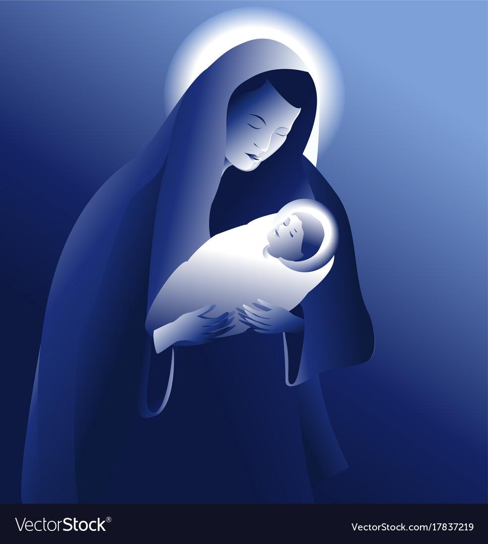 Maria with baby jesus vector image