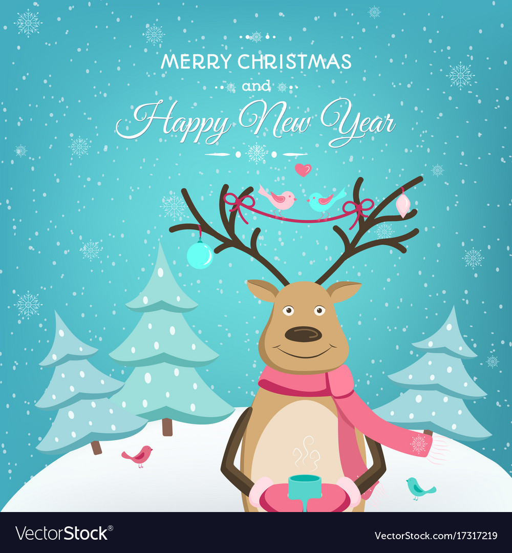 merry christmas happy new year card template deer vector image