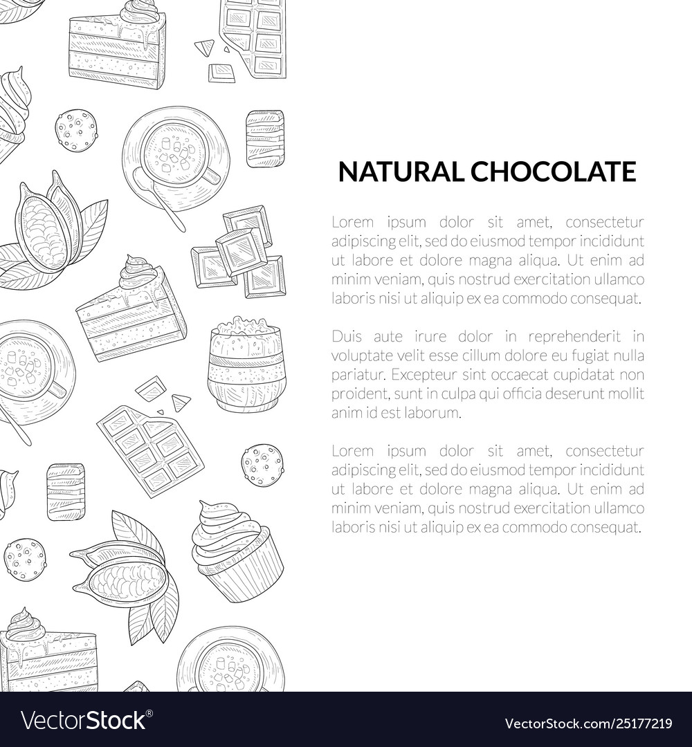 Natural chocolate banner template with hand drawn