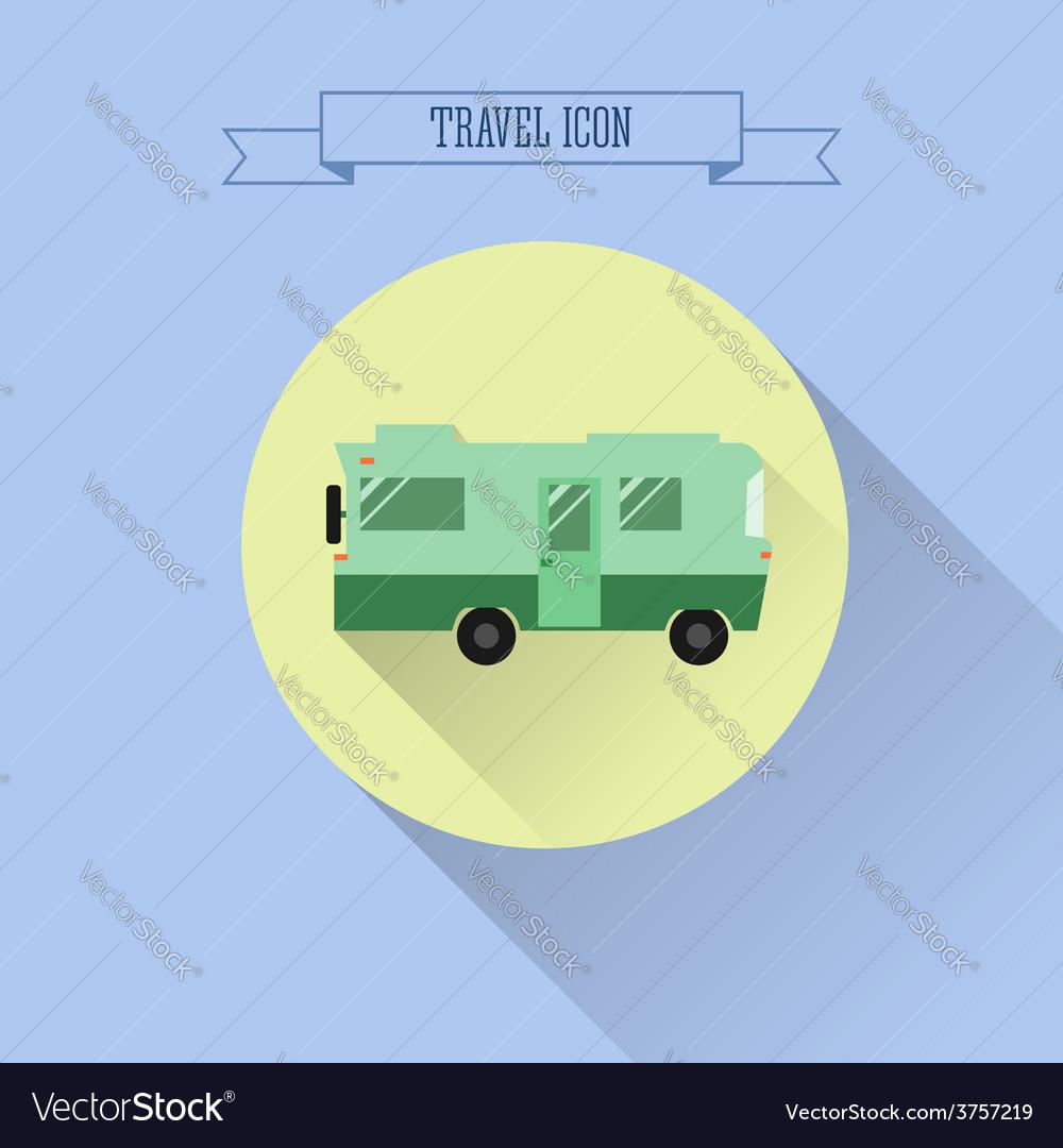 RV camping icon Caravan button in flat design