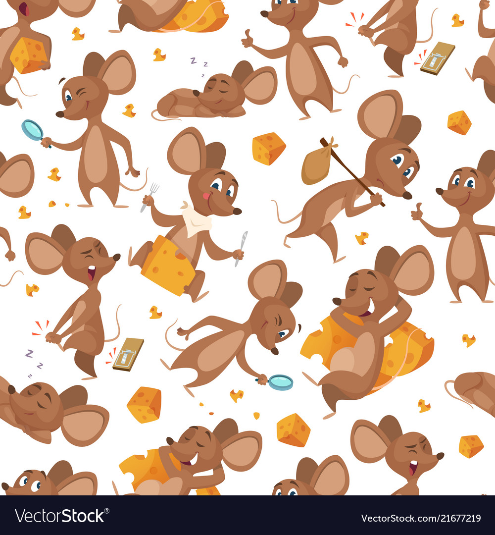 Seamless pattern mouse mouses character on