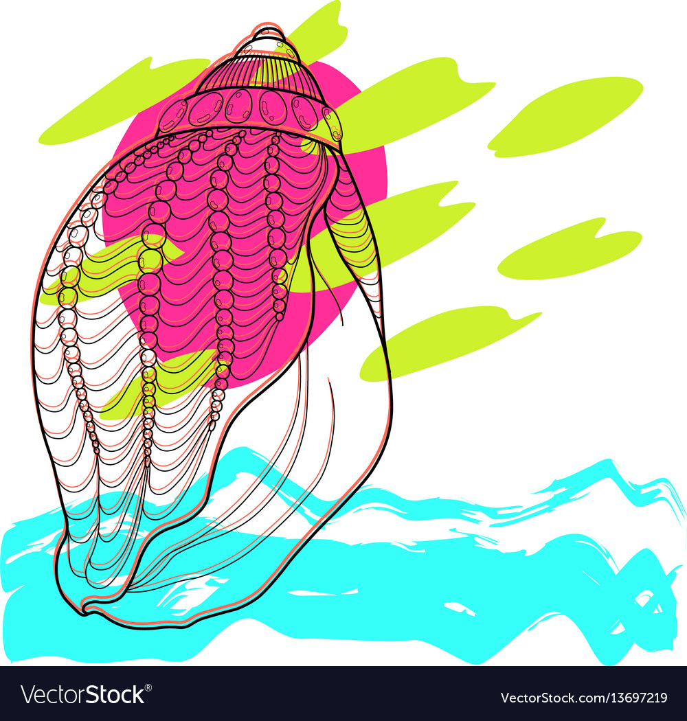 Stylized sea seashell abstract modern art