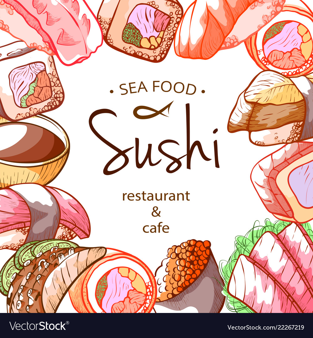 Sushi frame sea food poster with lettering