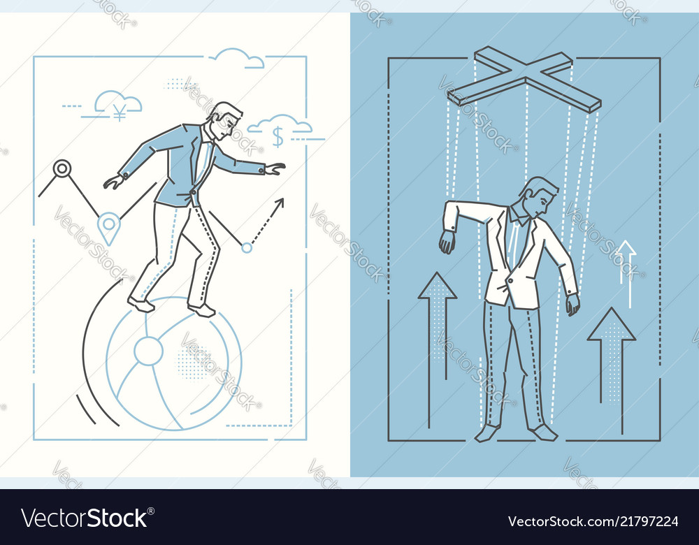 Business stability - set of line design style