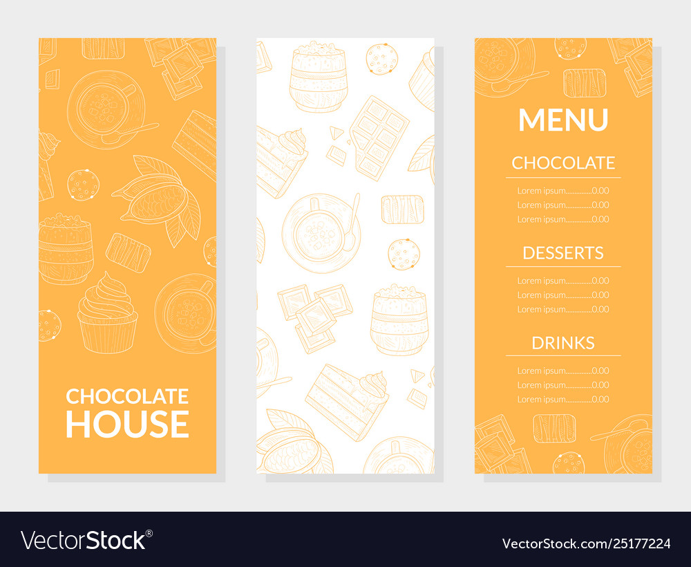 Chocolate house menu card template chocolate vector