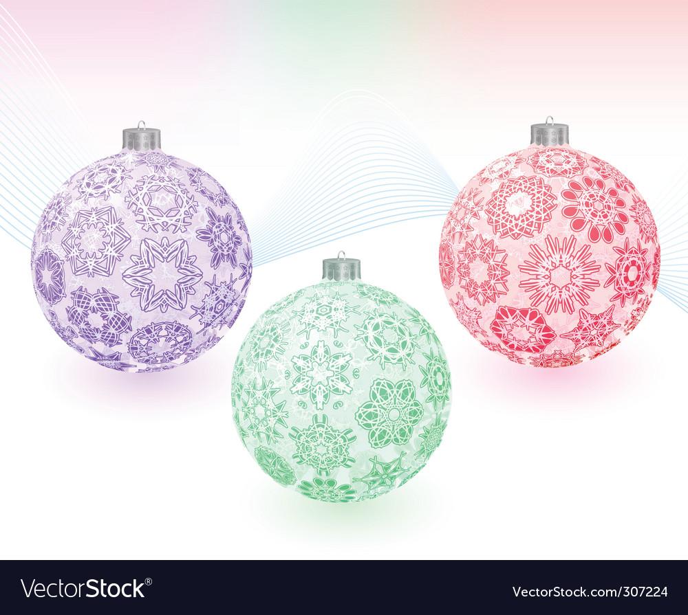 Christmas balls with snowflakes texture