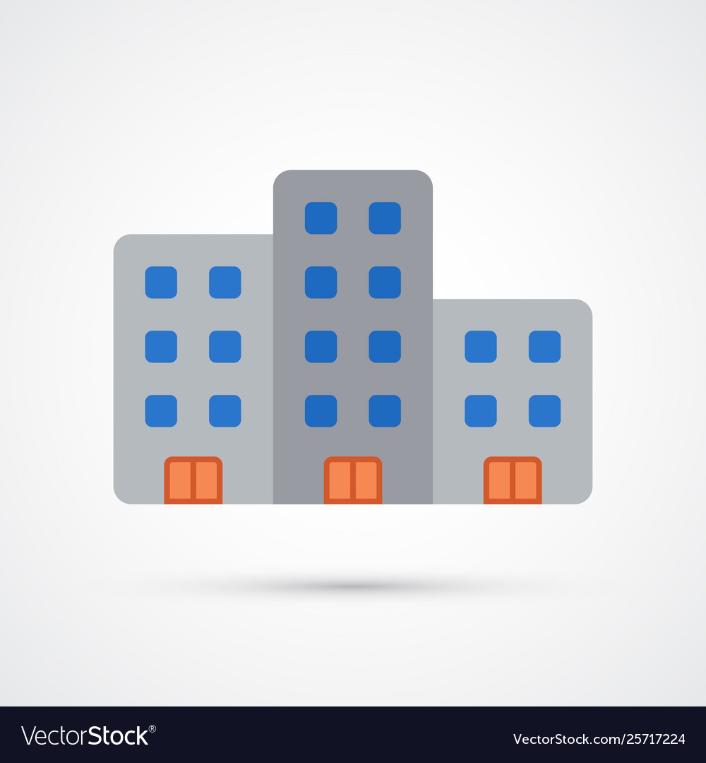 Colored business building trendy symbol