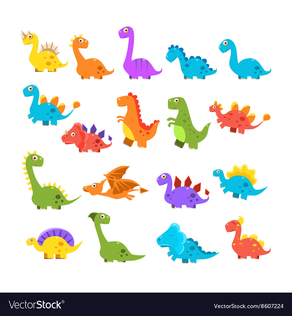 Cute Cartoon Dinosaurs Set vector image