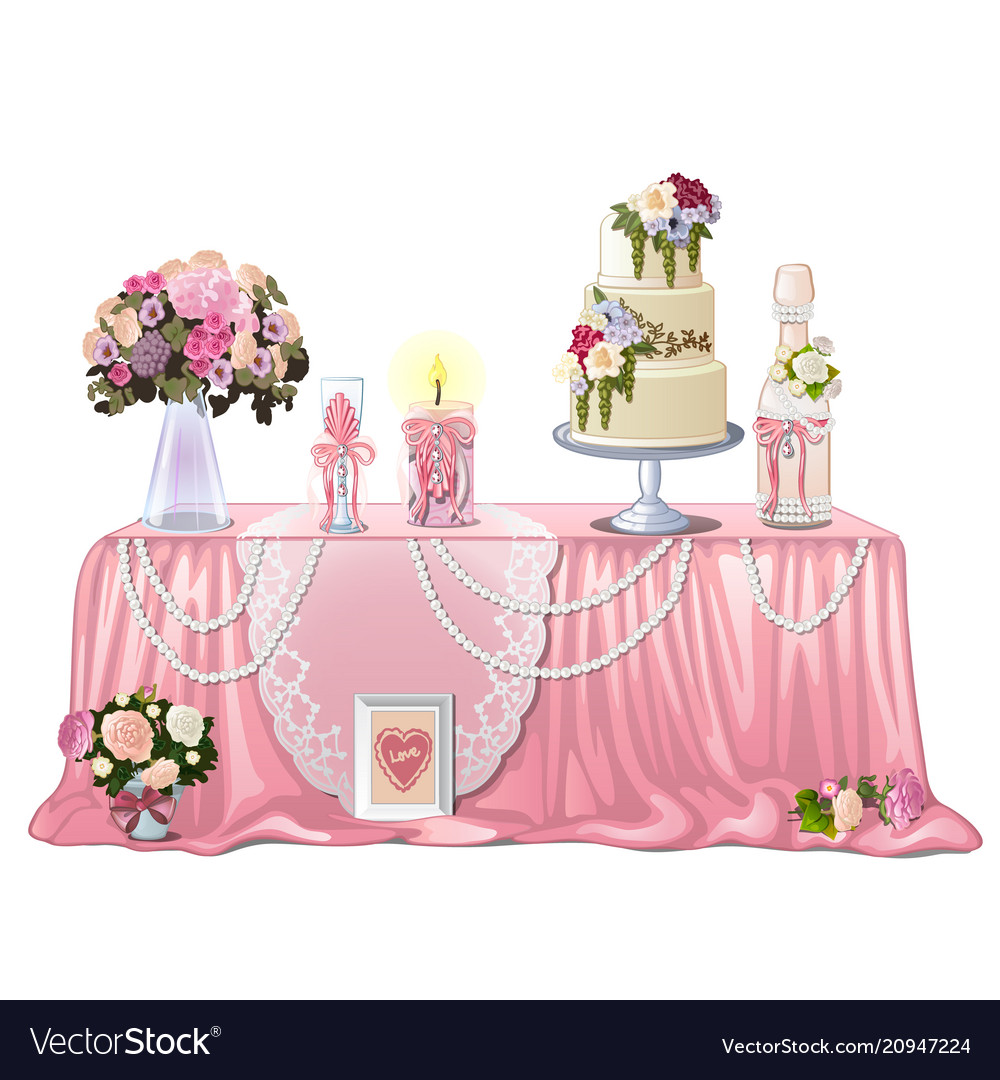 Decorated table with wedding paraphernalia Vector Image