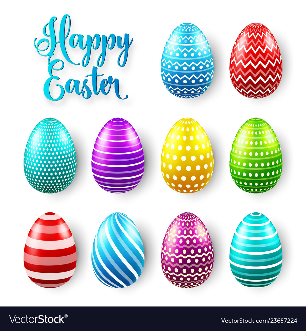 Easter eggs colored set spring holidays in april