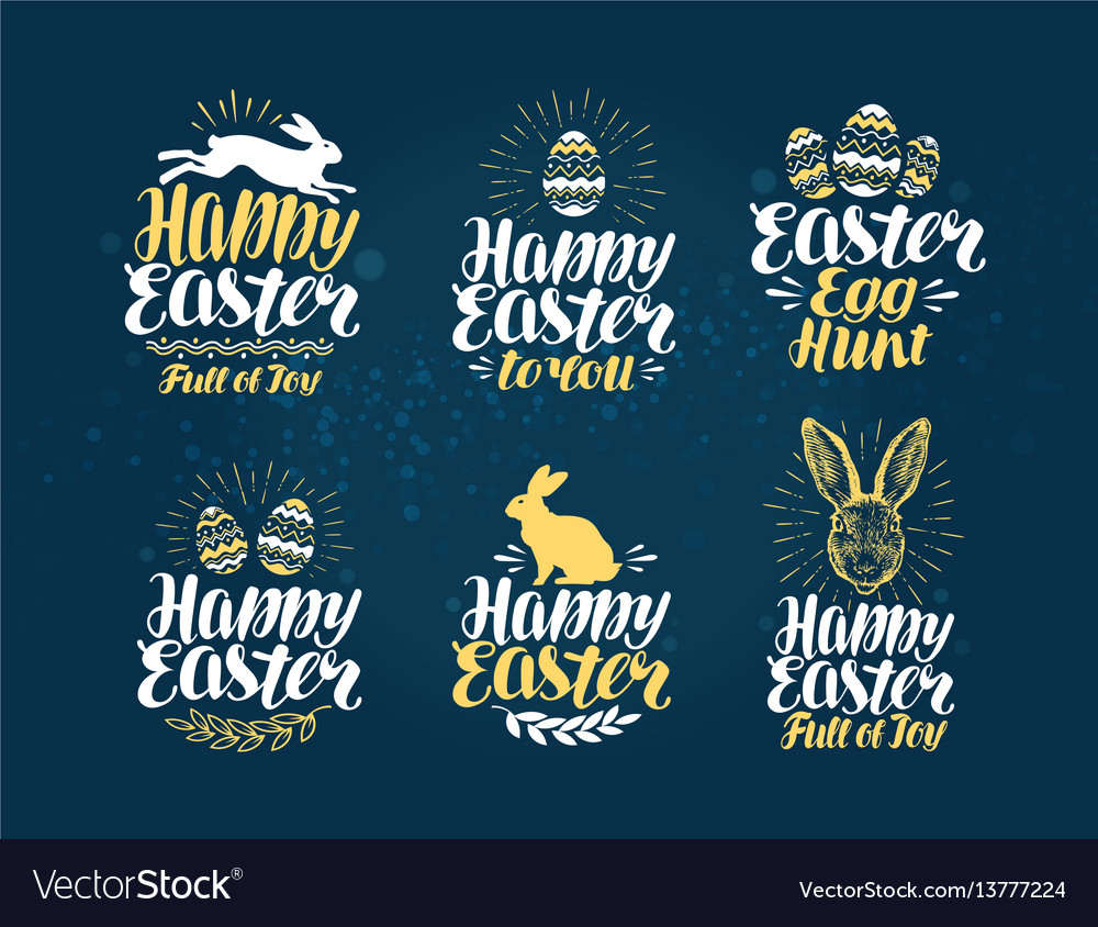 Easter label set handwritten beautiful lettering