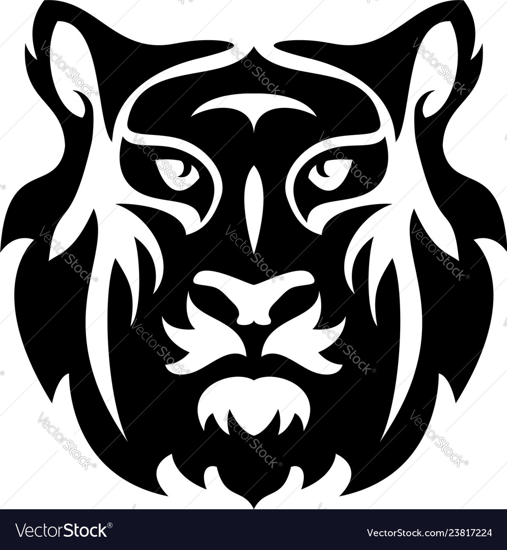 Flat icon stylized face a tiger