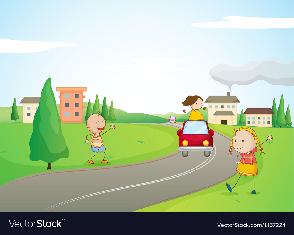 Kids a car and a road